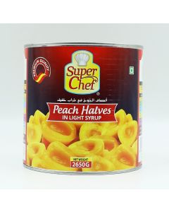 PEACH HALVES IN LIGHT SYRUP 2.6 KG