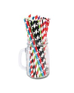 Retail Paper Straw Mix 8 Colors 6 X 197 Mm