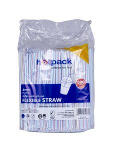 Hotpack-flexible straw  6mm, 500pcs